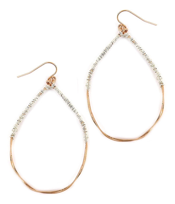 Metal Wire Wrap Teardrop Earring