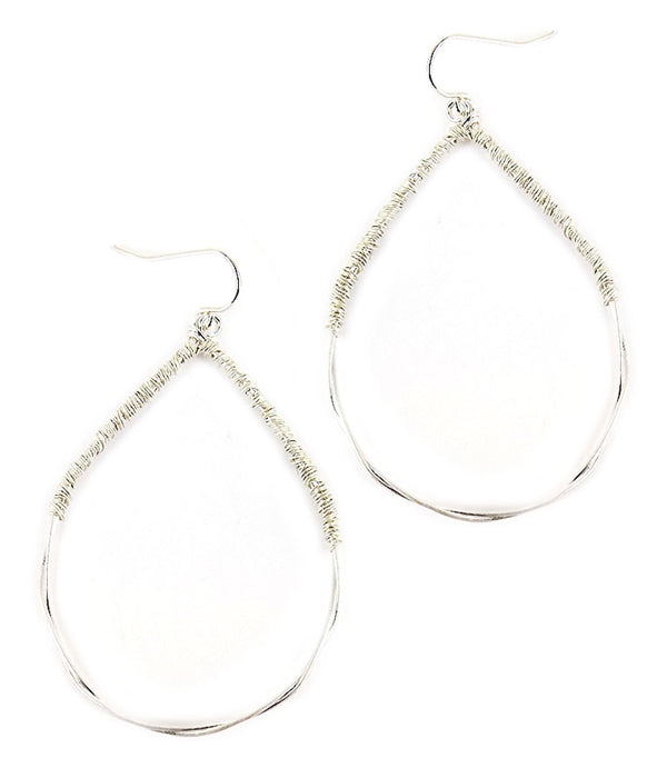 Silver wire wrap teardrop Earring
