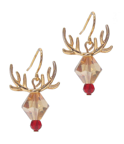 Gold Crystal Rudolph Reindeer Earring - Christmas Theme