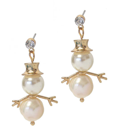Gold Fresh Pearl Snowman Earring - Christmas Theme