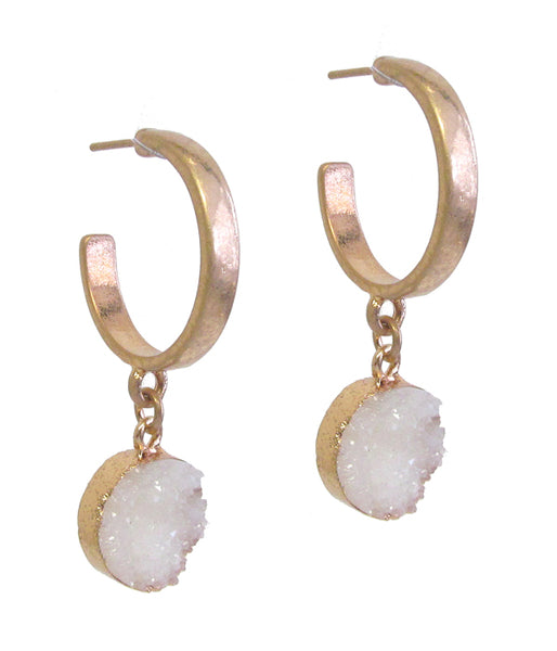 Gold White Druzy Drop Hoop Earring