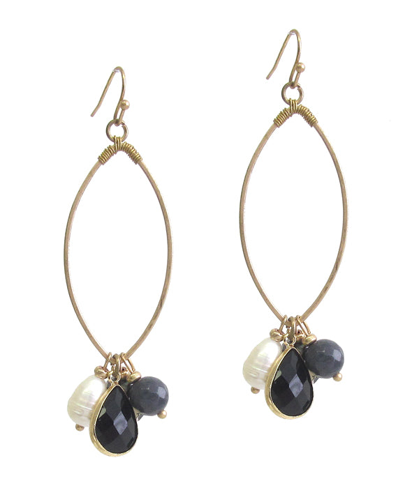 Gold Multi semi precious stone dangle wire hoop earring Black Onyx and pearl