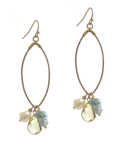 Gold Multi semi precious stone dangle wire hoop earring Topaz and pearl