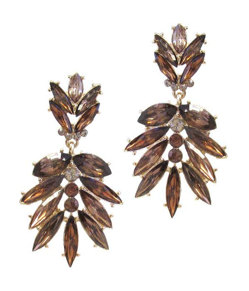 Gold Multi Crystal Mix Drop Earring