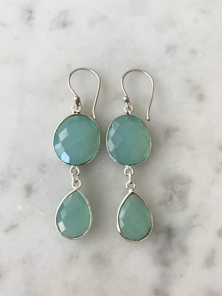 Rome Earrings Silver Chalcedony