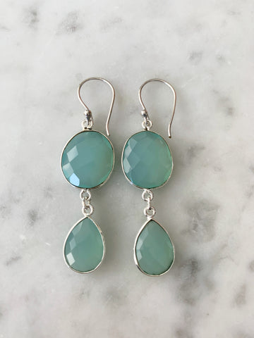 SALE Rome Earrings Silver Chalcedony