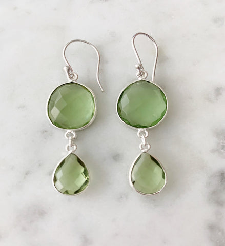 SALE Rome Earrings Silver Prasiolite