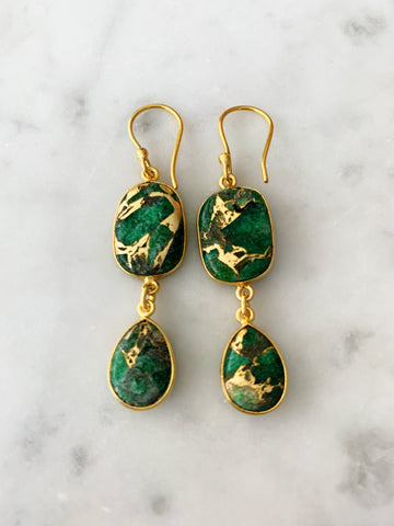 Rome Earrings Green Mojave Copper Turquoise