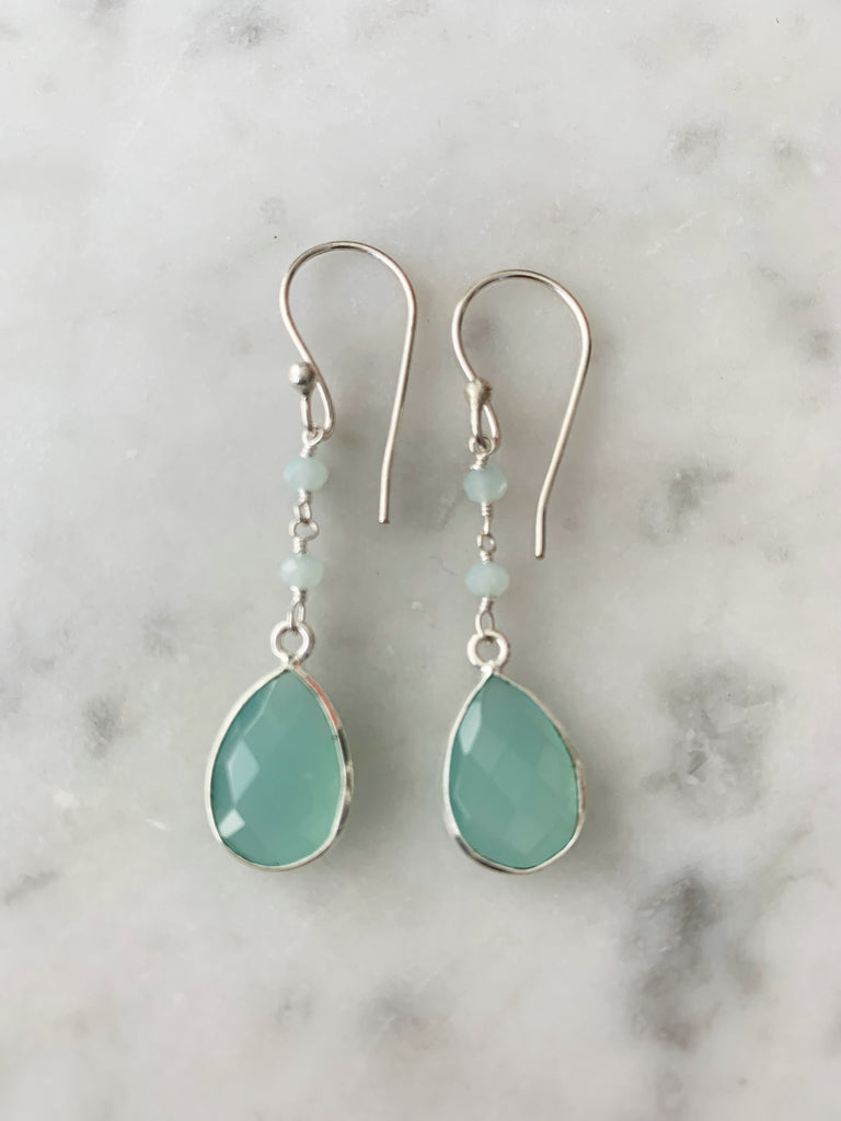 Silver Aqua Chalcedony Drop and Chain Earrings