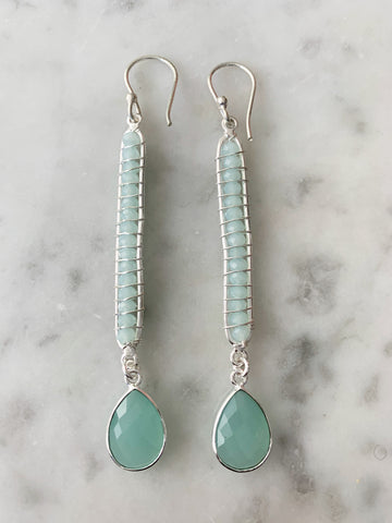 Silver Aqua Chalcedony Wrapped Beads and Drop Earrings