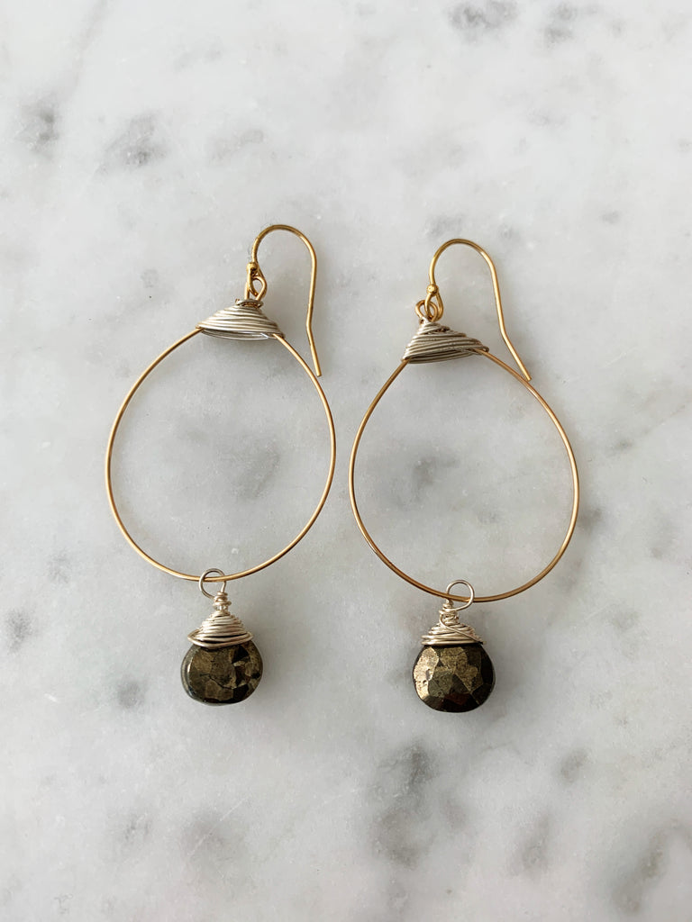 SALE Pyrite Small Featherweight Earrings with Drop