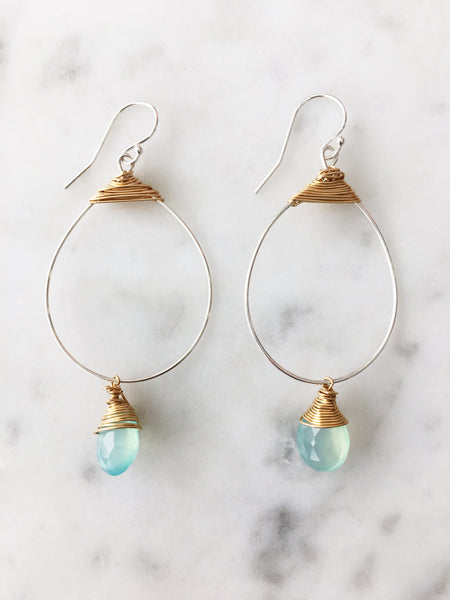 SALE Chalcedony Small Featherweight Earrings with Drop