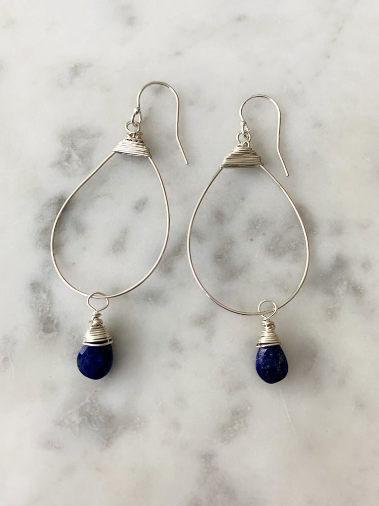 SALE Silver Sapphire Small Featherweight Earrings with Drop