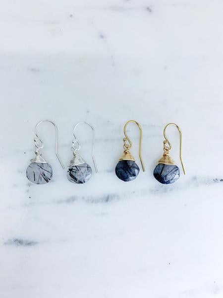 Jill Short Drop Earring in Black Rutilated Quartz