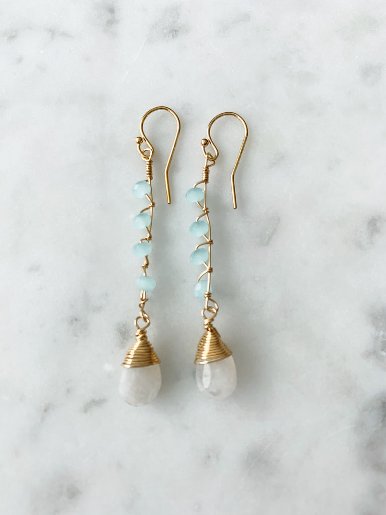 Jill Long Drop Earring in rainbow moonstone with wire wrapped Chalcedony Beads