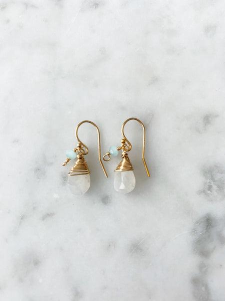 Jill Short Drop Earring in rainbow moonstone with Chalcedony Drop