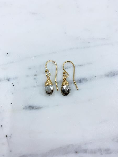 SALE Jill Short Drop Earring in Silver Pyrite