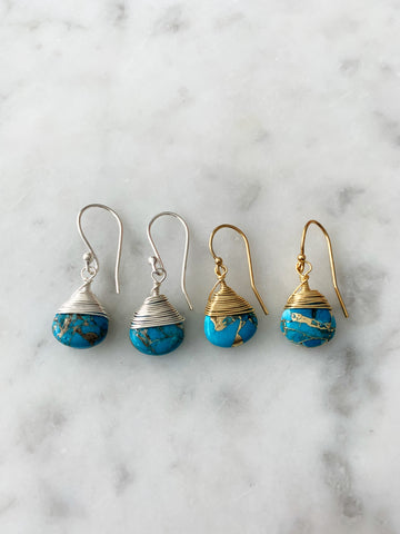 Jill Short Drop Earring in Copper Turquoise