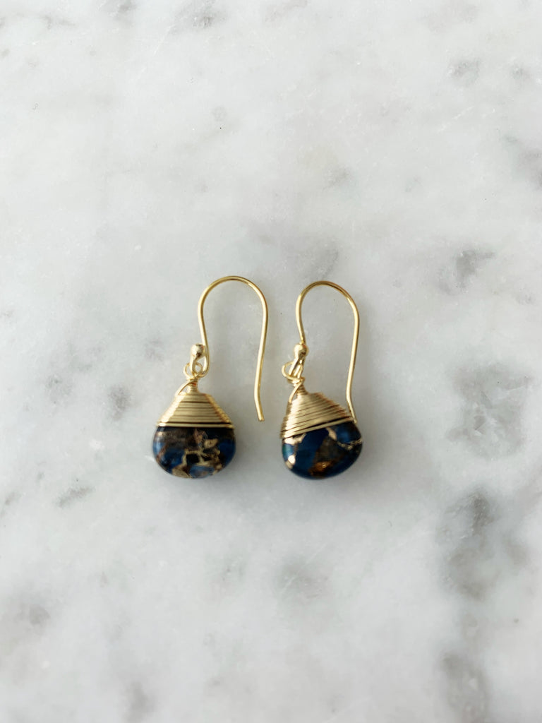 Jill Short Drop Earring in Blue Mojave Copper Turquoise