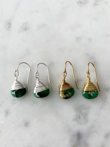 Jill Short Drop Earring in Green Mojave Copper Turquoise