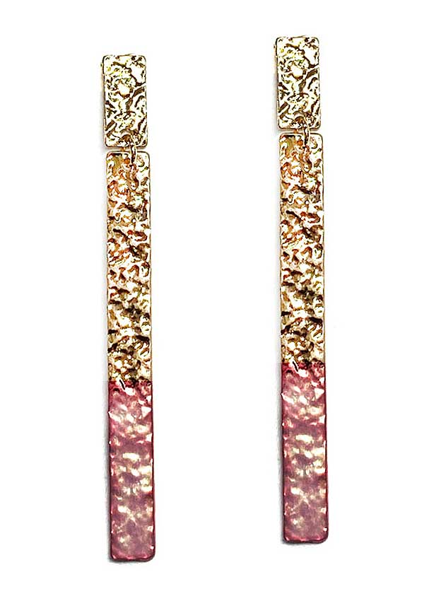 Pink Dipped Gold Hammered Dangle Earring