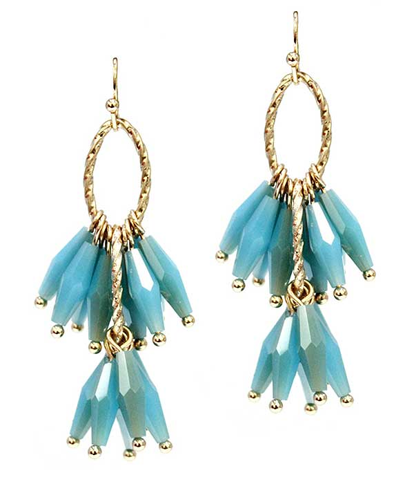 Brilliant Blue Stone Multi Gold Facet Dangle Earring