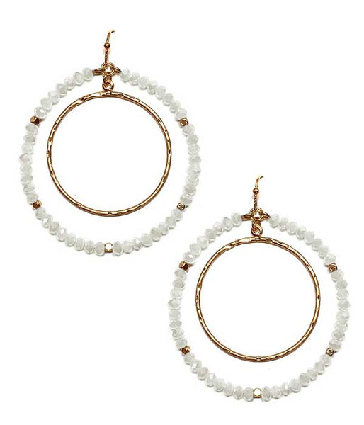 White Crystal Double Gold Hoop Drop Earring