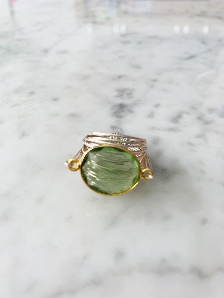 FINAL SALE Torrey Ring in Green Amethyst (Gold Bezel with Silver Wrap) LIMITED EDITION!