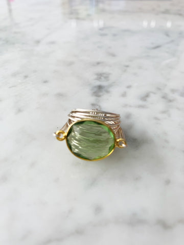 SALE Torrey Ring in Green Amethyst (Gold Bezel with Silver Wrap) LIMITED EDITION!