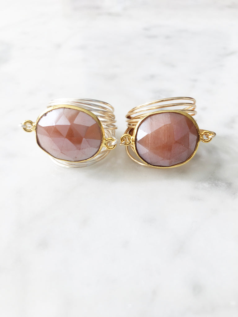 Torrey Ring in Peach Moonstone