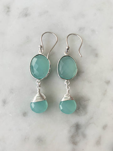 Victoria Ojai Earrings Silver Chalcedony
