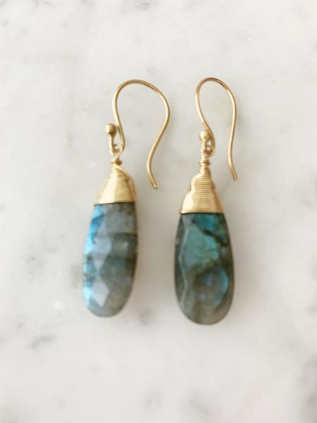 Labradorite Jill Drop Extra Long Earring