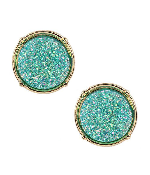 A Blonde and Her Bag Aqua Blue Druzy Round Stud Earring