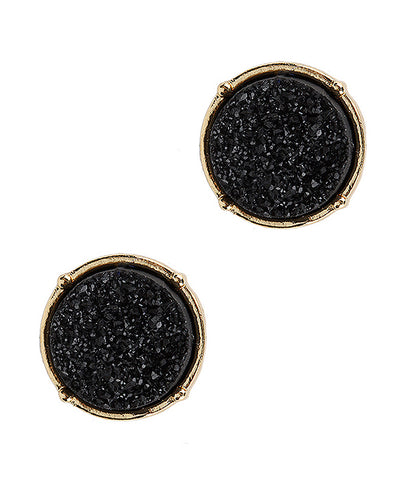 A Blonde and Her Bag Black Druzy Round Stud Earring