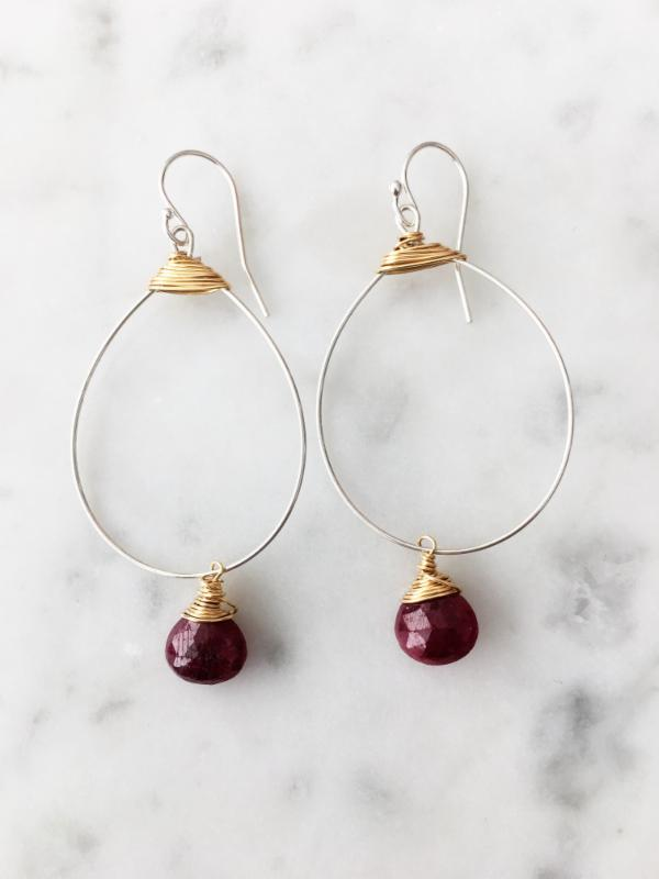 Ruby Small Featherweight Earrings with Drop