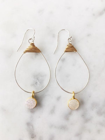 White Druzy Small Featherweight Earrings with Drop