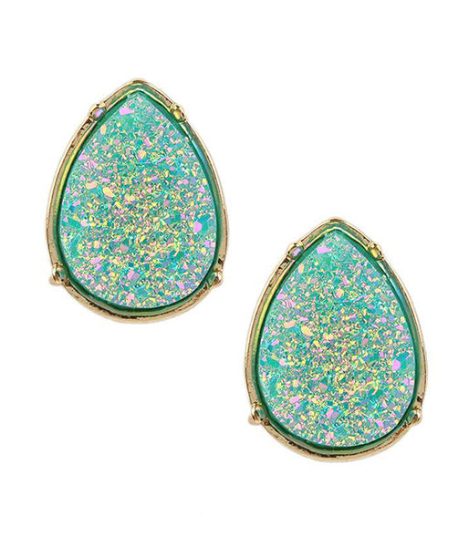 A Blonde and Her Bag Aqua Blue/Gold Druzy Teardrop Stud Earring