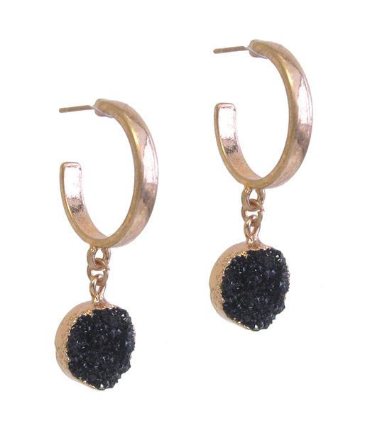 A Blonde and Her Bag Gold Black Druzy Drop Hoop Earring
