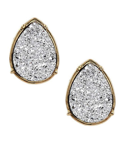 A Blonde and Her Bag Gray/Gold Druzy Teardrop Stud Earring