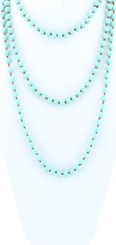 SALE Turquoise Crystal Beaded Necklace