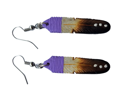 Bright Purple, Tan & Black Feather Earrings