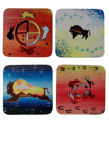 "Beautiful Native Buffalo Artwork Coasters - Set of Four - 3.5"" x 3.5"""