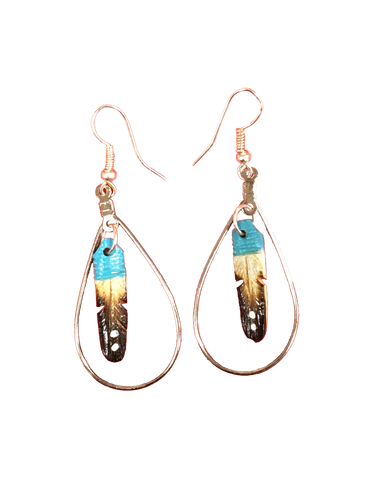 Turquoise Feather Hoop Earrings