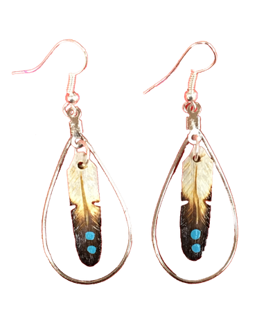 Feather Hoop Earrings w/Turquoise Dots