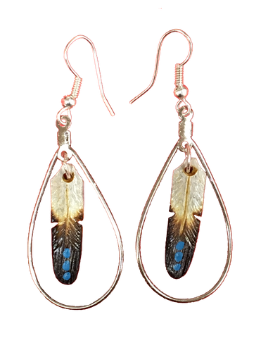 Feather Hoop Earrings w/ 3 Turquoise Dots