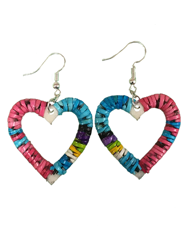 Porcupine Quill Heart-Shaped Earrings