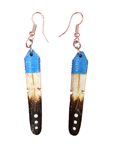 Light Blue, Tan & Black Feather Earrings Large