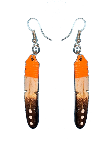 Orange, Tan & Black Feather Earrings (Medium)