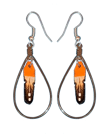 Orange Feather Hoop Earrings