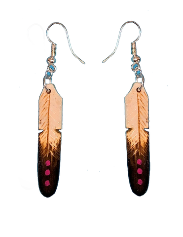 Tan & Black w/3 Pink Dots Feather Earrings (Medium)